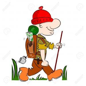 14676840-A-cartoon-hiker-rambler-going-camping-with-rucksack-and-stick-Stock-Vector